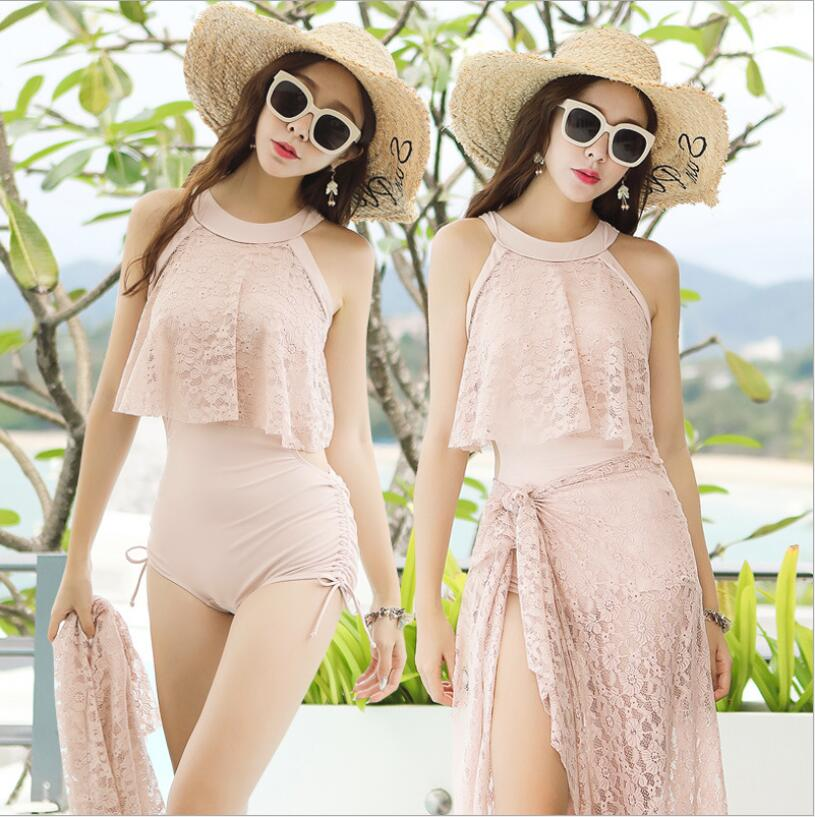 2019 New Women Lace One Piece Swimwear Sexy High Neck Slim Women Bathing Suit with Cover Up Womens Swimsuit Push Up Beach Wear