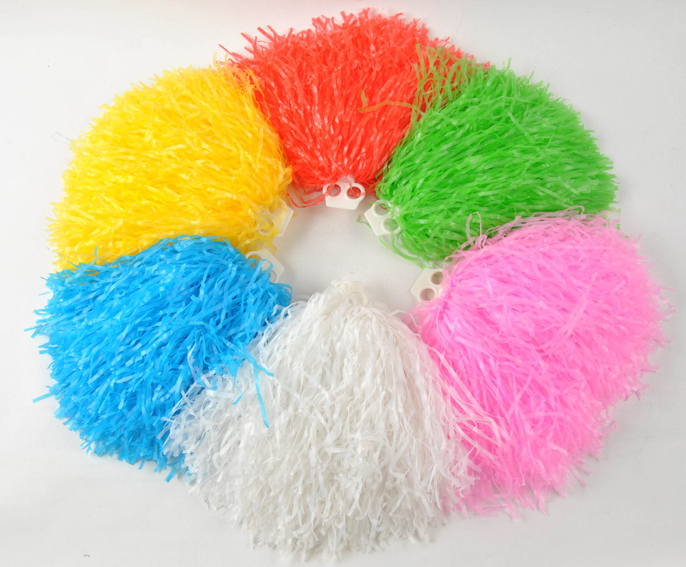 Free shipping,50g plastic  PE flash cheerleading pompom,pom pom ,red, blue ,green ,white ,black ,yellow ,purple and hot pink
