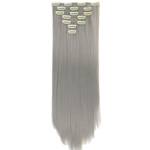 "Soowee 24"" Long Straight High Tempreture Fiber Synthetic Hairpiece Blonde Gray Mega Hair Clip In Hair Extensions Full Head"