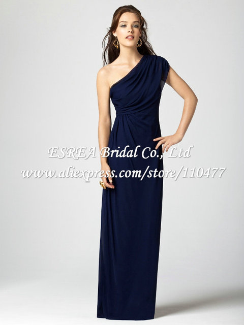 2b6bdb1e26aa Grecian Style Chiffon Navy Blue Bridesmaid Dresses One Shoulder Long Bridesmaid  Dress JR456 Vestido de Festa