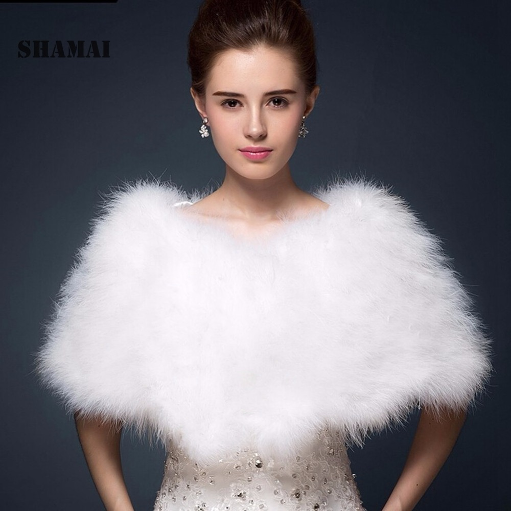 SHAMAI Luxurious White Ivory  Ostrich Feathers Fur Boleros Wedding Bride Jacket Shrug Bolero Coat Bridal Party Shawls