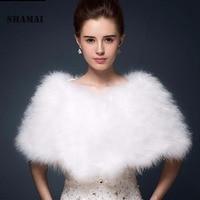 SHAMAI Luxurious White ivory ostrich feathers Fur Boleros wedding bride jacket shrug bolero coat bridal party shawls