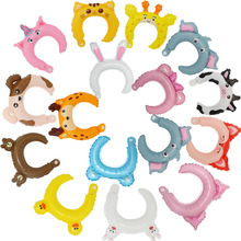 12pcs Headband aluminum balloon small gift party birthday cartoon rabbit animal headwear