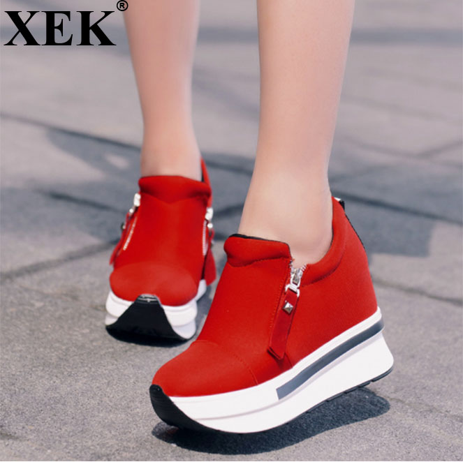 XEK spring autumn fashion platform shoes with zip casual sweet sneakers shallow women shoes size 35-40 ZLL24 spring autumn fashion platform shoes casual sweet sneakers shallow women shoes size 34 43