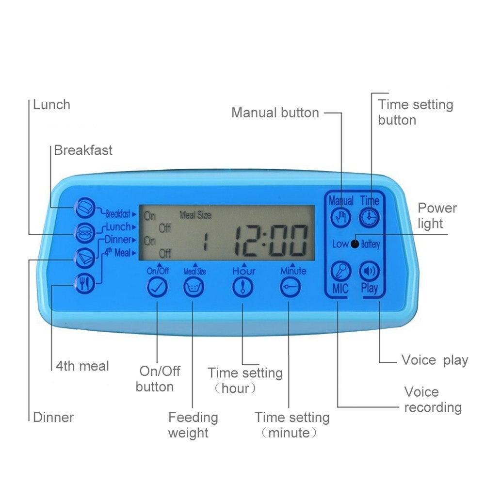 Iseebiz 3L สัตว์เลี้ยงอัตโนมัติหัวจุกเสียงดีมีพลังคึกคักตลอดการแข่งขัน the red whiskered bulbul birds have a good singing voice with jambul บันทึกเสียงสัตว์เลี้ยงชามอาหารสำหรับสุนัขขนาดกลางขนาดเล็กแมวหน้าจอ LCD Dispensers 4 ครั้งหนึ่งวัน-ใน ที่ให้อาหารสุนัข จาก บ้านและสวน บน   2