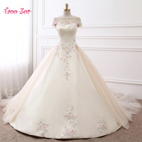 Amdml Solemn 3 D Flowers With Pearls Crystals Ball Gown Wedding Dresses 2017 Real Photo Boat