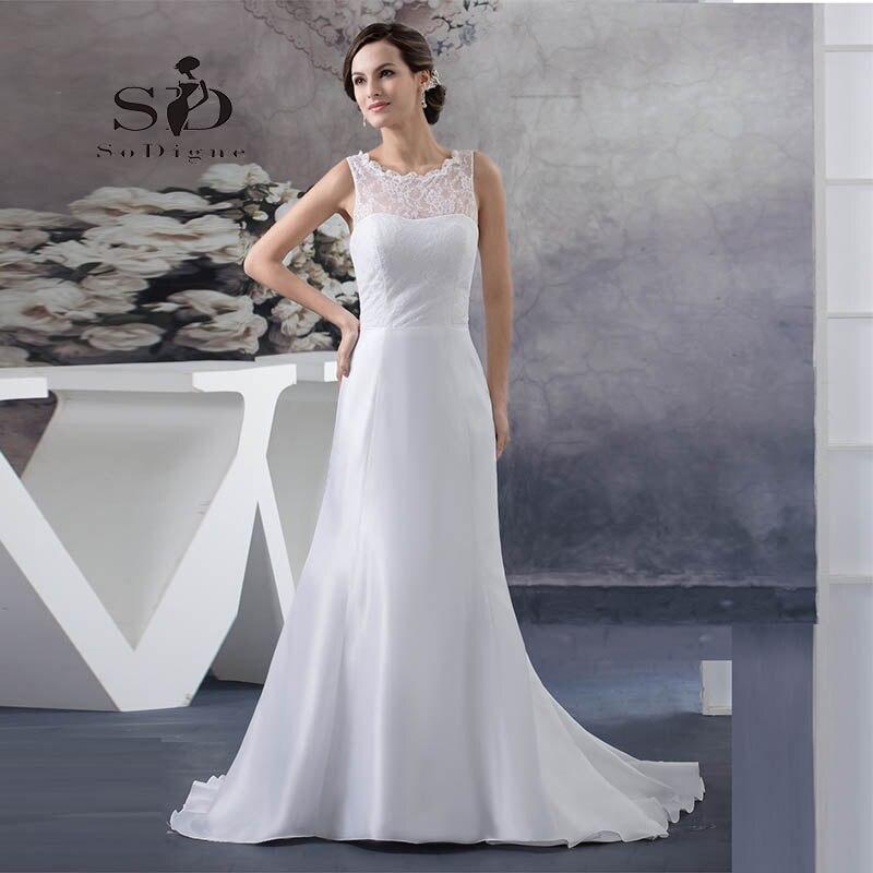 Wedding Dress 2018 SoDigne Custom Made Lace A -Line Vestido De Noiva Romantic Lace Keyhole Backless Bridal Gown