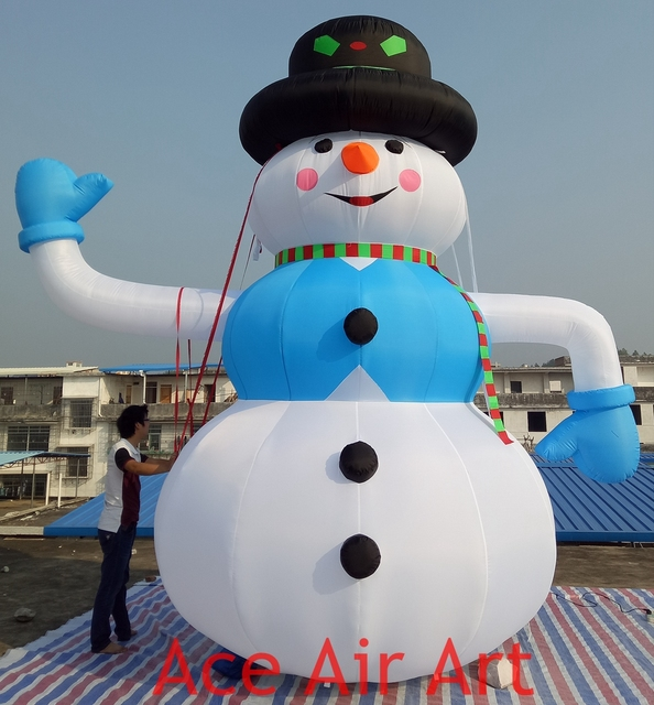 such large christmas decoration inflatable christmas snowman waving for rental