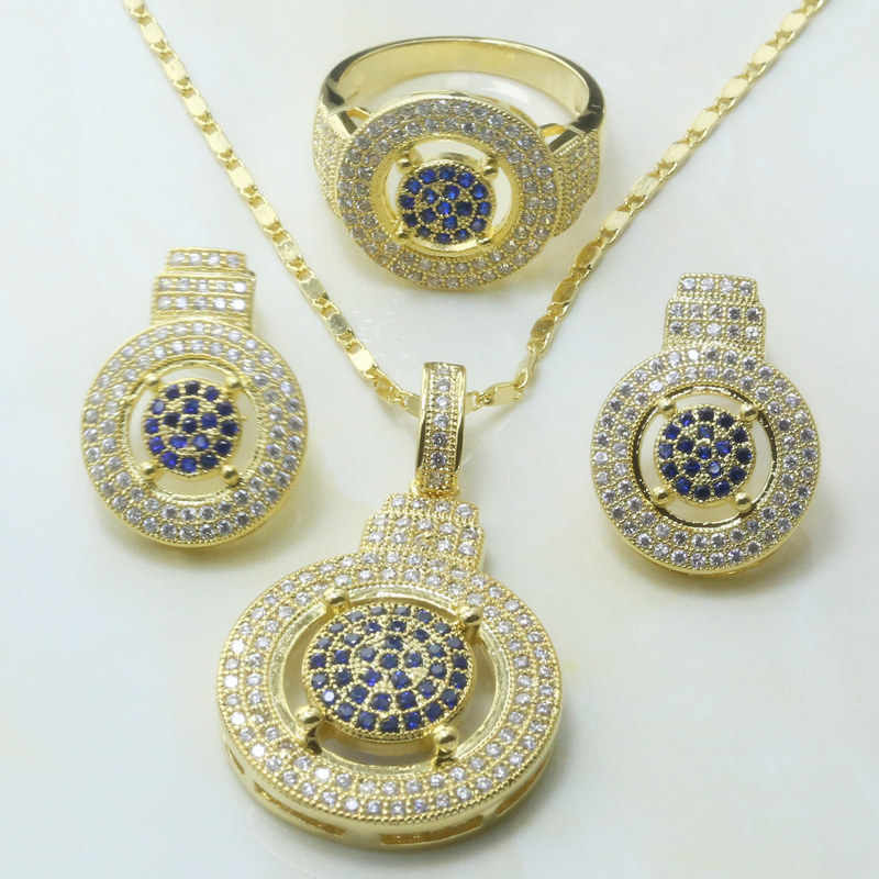 Otogo Transing  Gold Color  Tray Blue Zircon Jewelry Set Ring Earrings Pendant Necklace Women S273