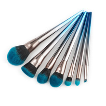 7Pcs Soft Hair Makeup Brush Set Blue Black Foundation Eyeshadow Eyeliner Lip Powder Maquillage Cosmetic Tools