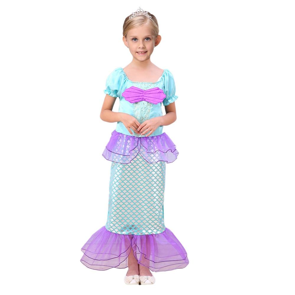 2018 Robes De Sirène Pour Filles Petite Sirène Fantaisie Princesse - Vêtements pour enfants - Photo 4