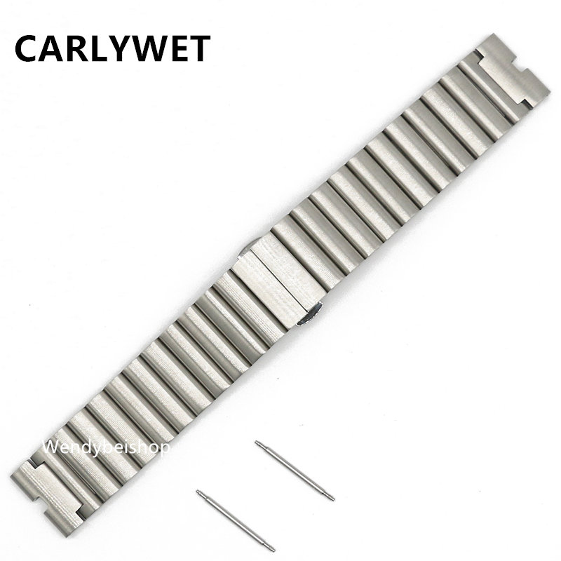 CARLYWET 22mm New 316L Silver teel Bracelet Wrist Watchband Strap Belt Double Push Clasp For Moto Motorola 360 Smart Watch 1gen 20mm watchband stainless steel smart watch band strap bracelet for motorola moto 360 2 2nd gen 2015 42mm smartwatch black silver