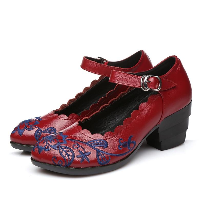 Dame Nouveau Profonde Bout Peu Talon Femmes Automne Cuir rouge Épais Chaussures Femme Véritable En Broder Pointu Bouche Noir Pompes fz8wf1rq