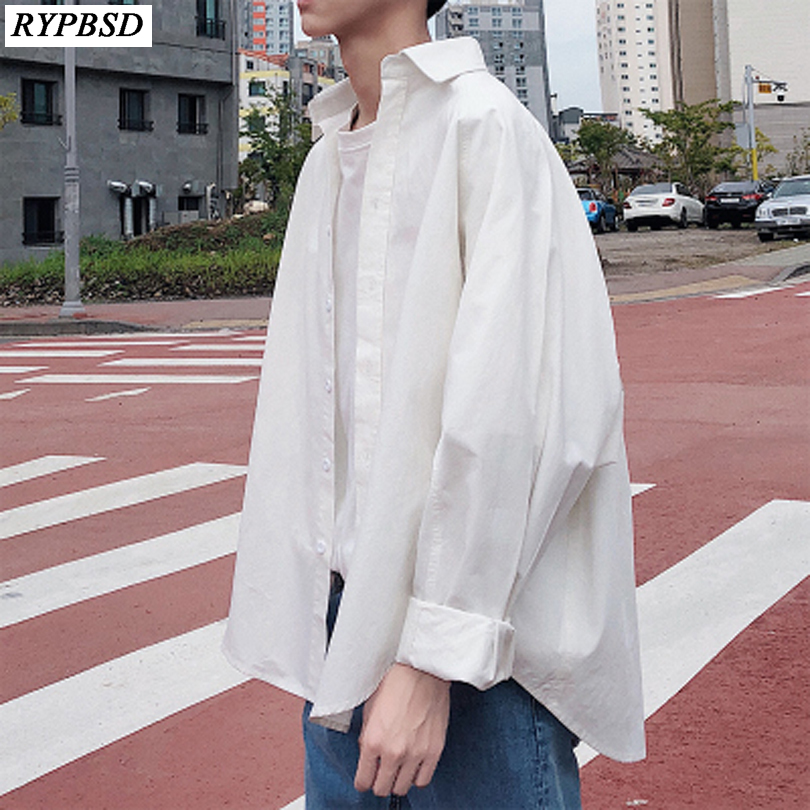 Spring Fashion Korean Clothes Men Loose Long sleeved Oversize Men Shirt Solid Color Turn Down Collar Casual Men Blouses M XXL