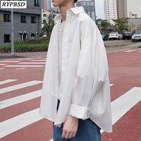 Spring Fashion Korean Clothes Men Loose Long sleeved Oversize Men Shirt Solid Color Turn Down Collar Casual Men Blouses M XXL