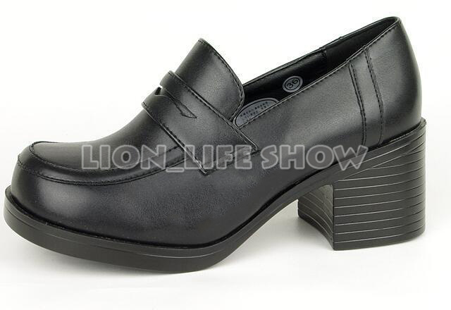 3 colors Women Japanese School Uniform Student Leather Black High Heel JK Shoes Cosplay