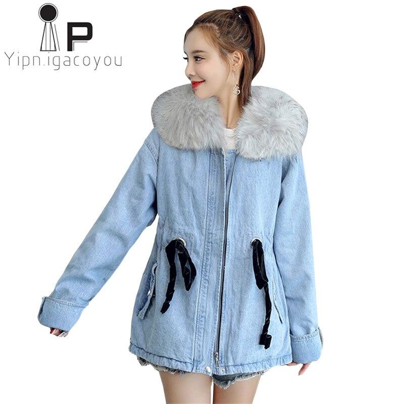 Invierno Femenina Para Talla Lambswool Vaquera Blue Abrigo Mujer qt7f1S