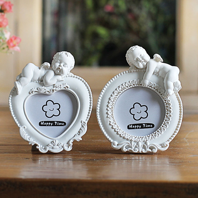White Mini Picture Frame For Lovely Babyheart Shaped Photo Frames