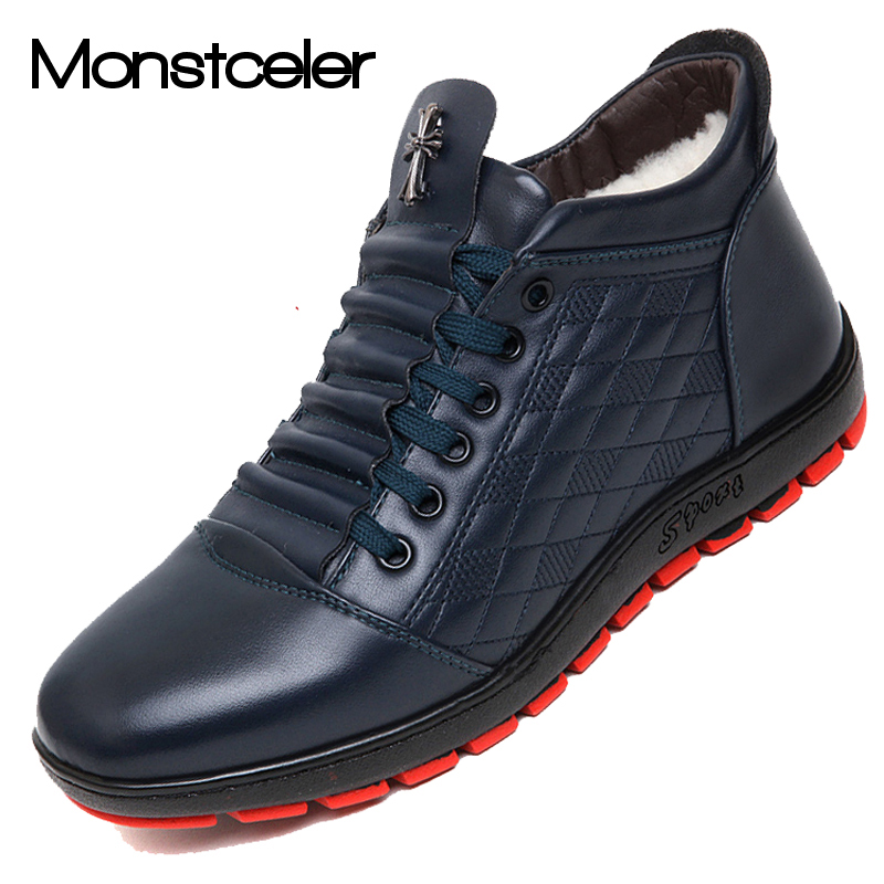 Fashion Cotton padded Men Leather Boots Cow Split Plus ...