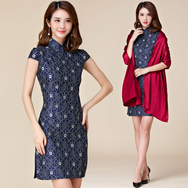 Detail Feedback Questions about M~3XL Plus Size NEW Chinese Women Fashion Elegant  Lace Short Split Cheongsam Qipao Lady Big Blue Tang Suit Party Dress on ... 31a6536c7efc