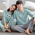 Casal homens e mulheres pijamas pijamas set outono inverno 100% algodão roupas da longo-luva pijamas noite das senhoras desgaste casa