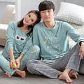 Couple pajamas set autumn winter men and women pajamas 100% cotton long-sleeve sleepwear ladies night wear home clothing