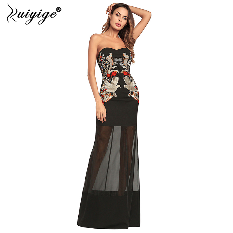 Ruiyige 2018 Off Shoulder Long Maxi dress Floral Embroidery Sexy Party Dresses Elegant Party Slim See Through Spring Vestidos
