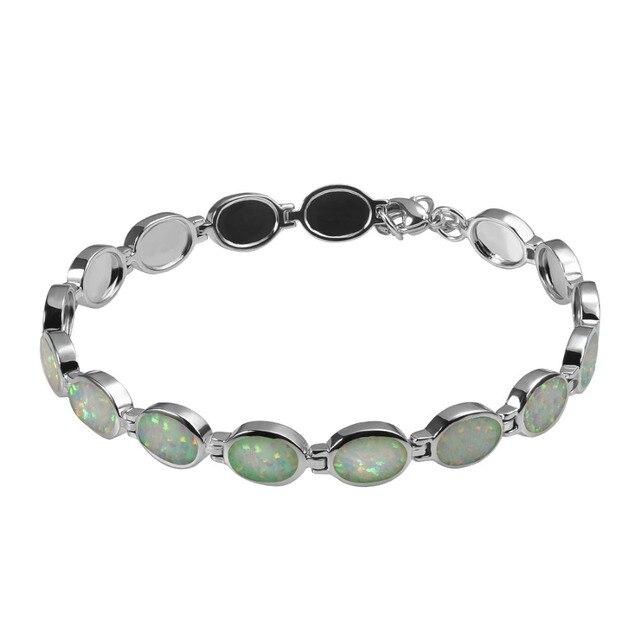 Verde Opal de Fogo 925 Sterling Silver Moda Linda Pulseira P342