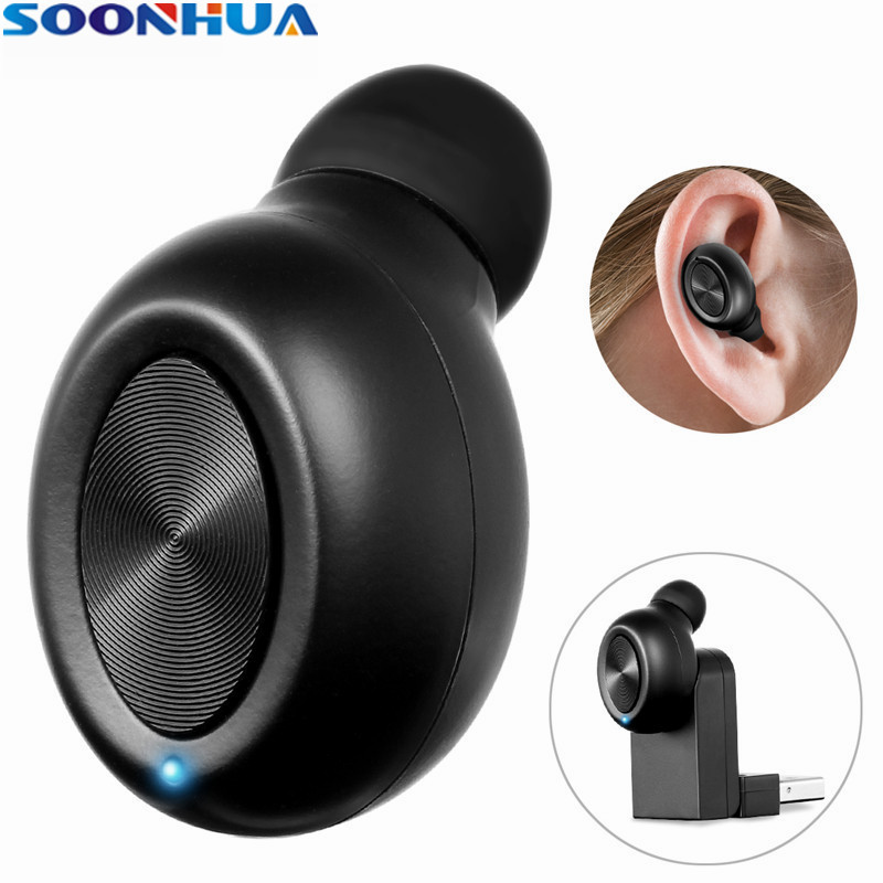 SOONHUA Mini Invisible Bluetooth Earphone Wireless In-Ear Earbuds Portable Magnetic Charger Case With HD Mic For iPhone Xiaomi