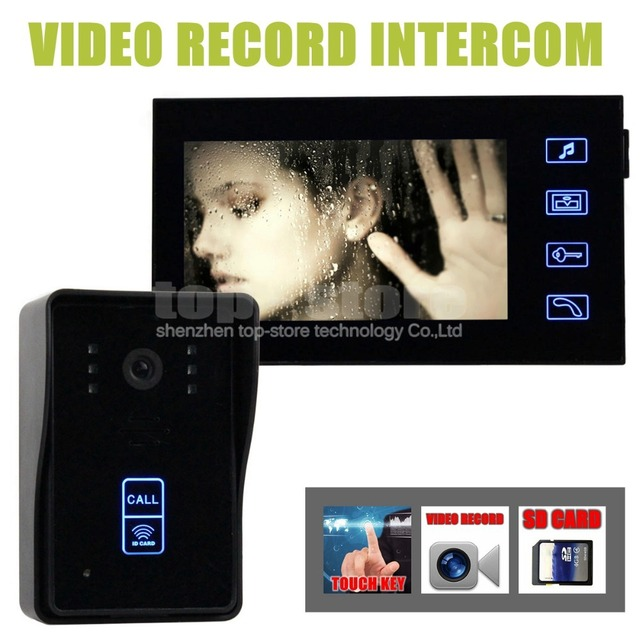 DIYSECUR Video Record 7 Inch Video Door Phone Intercom Doorbell Home Security Kit Touch Key Camera Monitor RFID Keyfobs SD Card