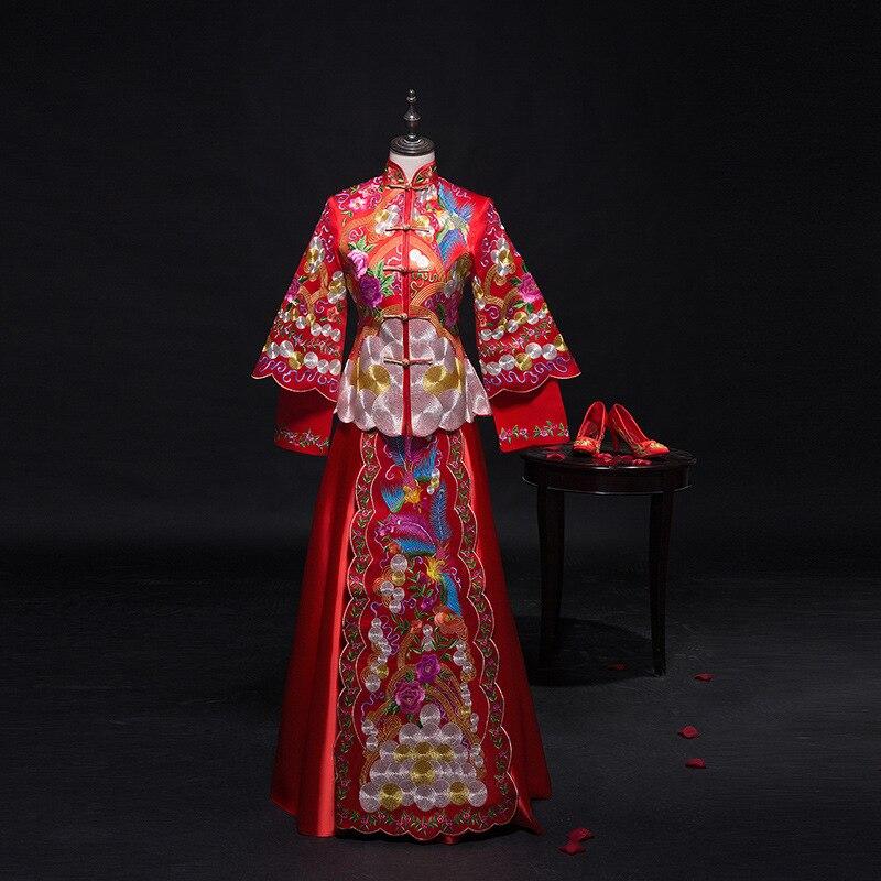 Винтаж Красный невесты жениться платье древний вышитые цветок Королевский дворец Костюм Традиционный китайский Для женщин Свадьба Cheongsam