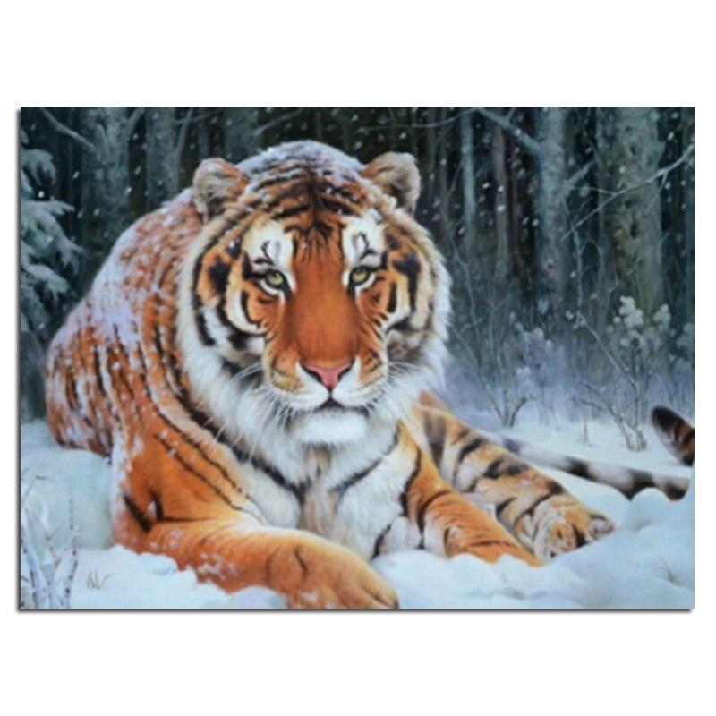Diamond embroidery snow tiger 40x30 Diy diamond square drill rhinestone pasted Crafts Needlework home decoration zx