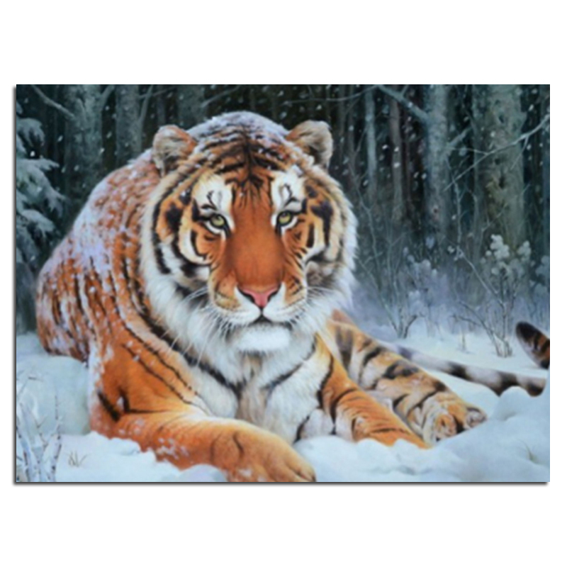 Diamond embroidery snow tiger 40x30 Diy diamond square drill rhinestone pasted Crafts Needlework home decoration zx