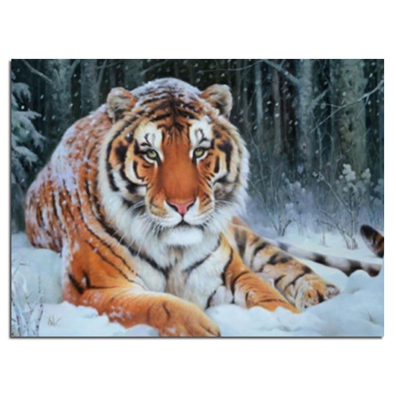 Diamante ricamato tigre da neve 40x30 Diamante fai da te trapano quadrato strass incollato Artigianato Cucito decorazione della casa zx