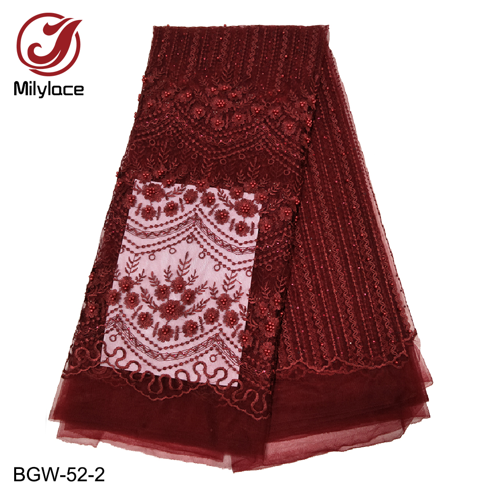 8 Available colors african lace fabric beaded embroidery french lace fabric 5 yards per lot burgundy