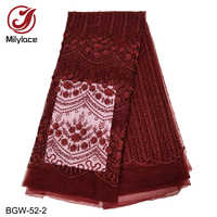 8 Available colors african lace fabric beaded embroidery french lace fabric 5 yards per lot burgundy red tulle lace BGW-52