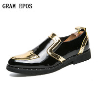 GRAM EPOS New Men Loafers Tassel Flat Smoking Silver Glitter Slip On Men Dress Loafer Moccasins