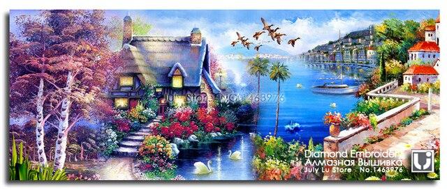 Beautiful Scenery Of Gulf Diamond Embroidery Blue Sea Bird
