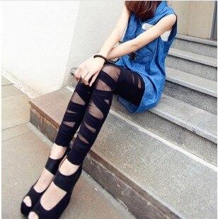 Doprava zdarma Fashion Leggins! Síťované střihové kalhoty Leggings Skinny Stretch Pants na jarní léto a na podzim