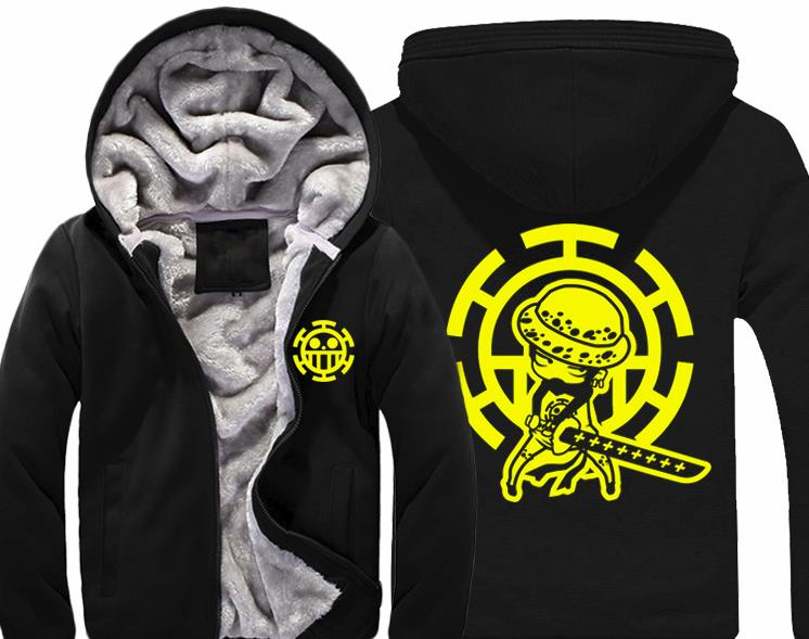 Hot One piece Trafalgar Law Hoodie Death Surgeon Thick Winter Coat Men's Velvet Sweatshirt
