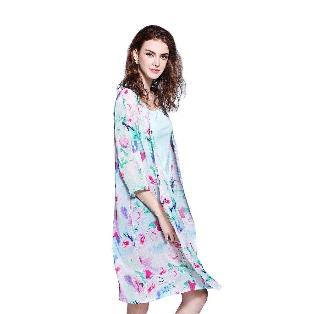 Femmes D'été Style Mousseline de Soie Demi Manches Vintage Floral Imprimé kimono Plage Cover Up Cardigan Casual Blusas Tops