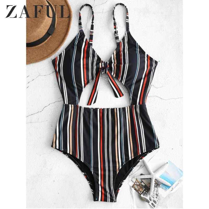 ZAFUL Bikini zestaw paski węzeł z przodu wycięcie strój kąpielowy stroje kąpielowe kobiety strój kąpielowy Sexy brazylijski Bikini Set 2019 mujer