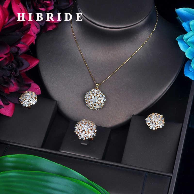 HIBRIDE Elegante Shinny Hohe Qualität Zirkonia Schmuck-Set Für Frauen Gold Farbe Ring/Ohrring/Halskette Schmuck-Set geschenk N-511