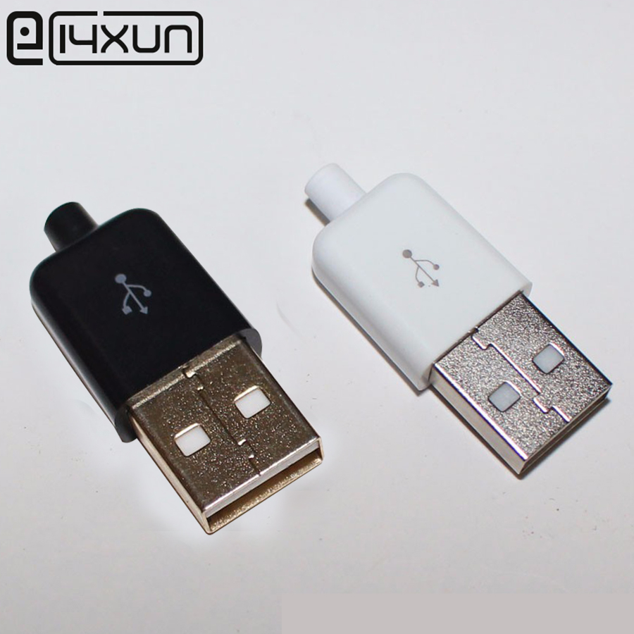 10pcs/lot DIY USB 2.0 A Male Assembly Adapter Connector Plug Socket  Nickel-plated Gold Plated