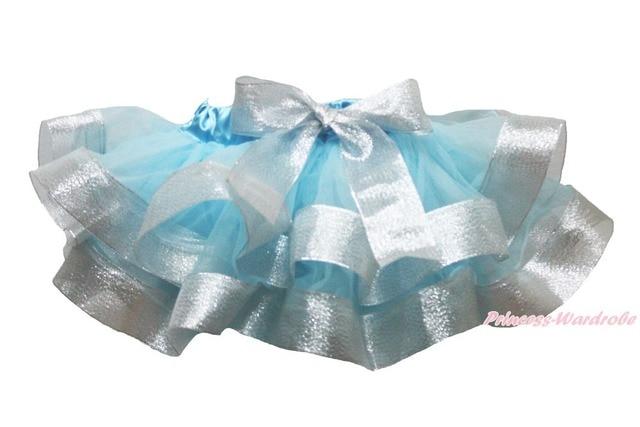 Light Blue Silver Satin Trimmed Tutu Baby Girls Pettiskirt Skirt NB-8Year MADRE0083