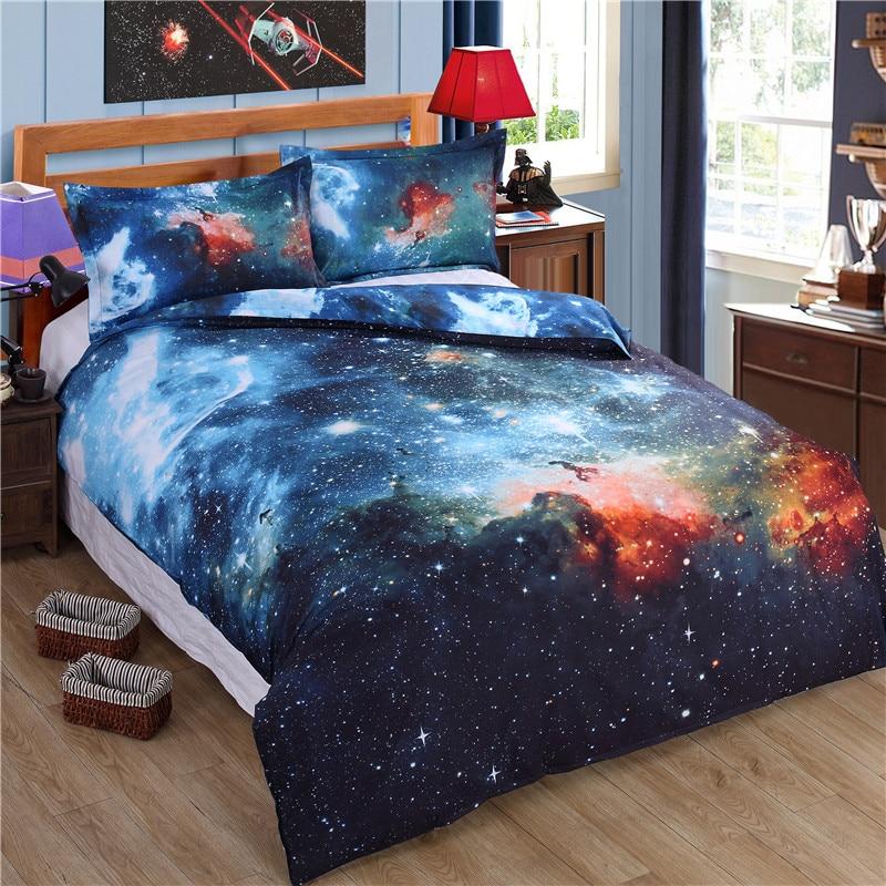 Blue 3d Star Galaxy Bedding Set Bedspread 3pcs Duvet Cover King Queen Single Double Size Bedlinen Children Luxury Bedclothes Home Textile Home & Garden