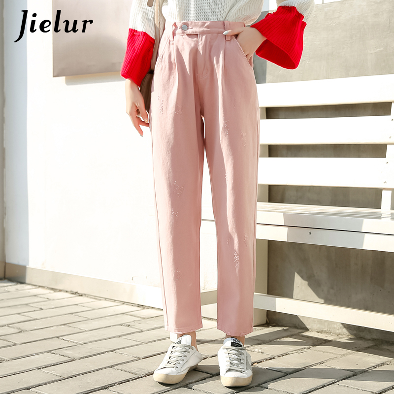 Jielur Jeans Women Vintage Loose Kpop Style Boyfriends Trousers Female Elastic Waist Cowboys Pants Fashion Solid Color BF Jeans