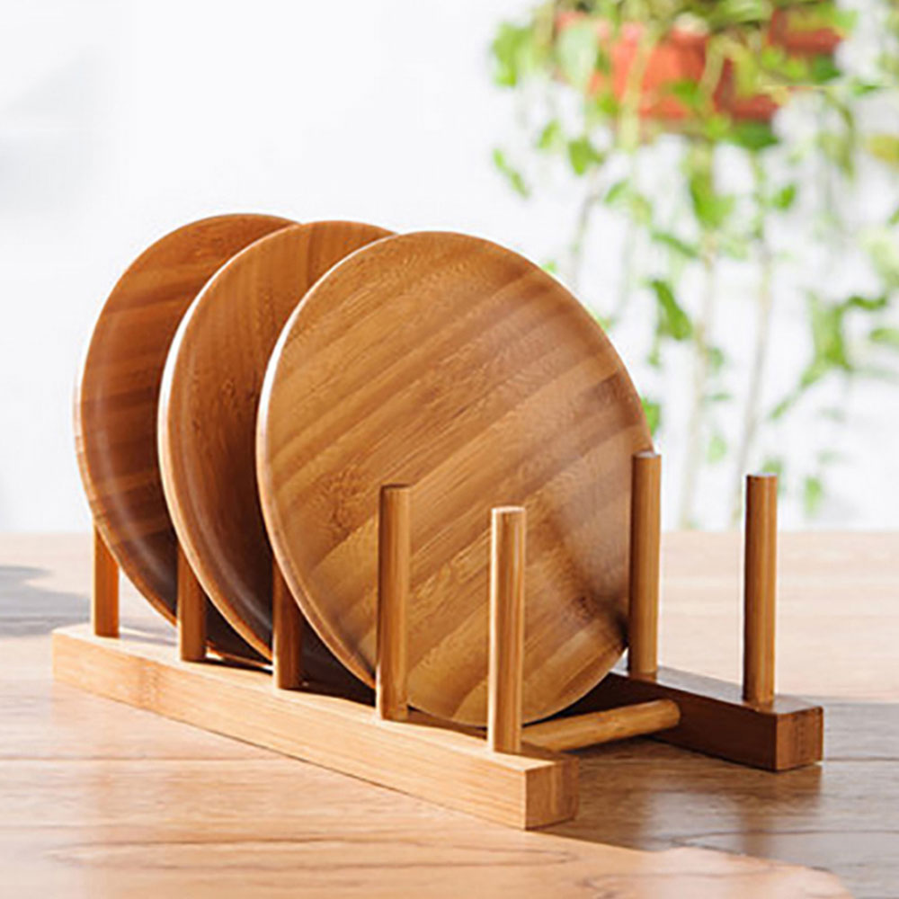 Wooden Drainer Plate Stand Practical Wooden Dish Plate Fold Rack Holder Stand Dry Shelf Storage Decorative Shelves Kitchen Tool