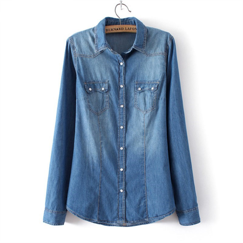 Ladies Denim Shirt Jeans Shirts slim fit Casual Womens Blusas Long Sleeve Vintage Blouse female Cowboy Shirt Spring Clothing Рубашка