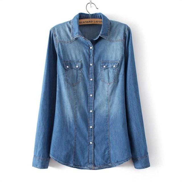 Winter Clothes Denim Shirt Women Clothing Vintage Jeans Shirt Womens Jeans Blusas Long Sleeve Casual Blouse Cowboy Shirt Spring